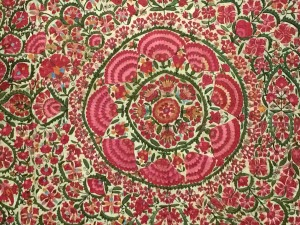 Floral wall hanging or bed cover from 1800's; Bukhara (Uzbekistan)