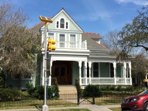 Railing and pillar style on this house are typical in New Orleans