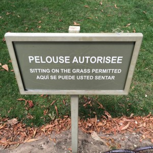 Jardin du Luxembourg); encouragement to sit on the grass; Paris; 7/19/15