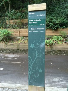 Le Promenade Planteé (Paris High Line) adjacent garden (Couleé Verte René-Dumont); sign showing length of Promenade