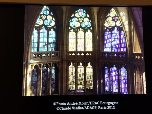 Stained glass slide show for Nevers Cathedral windows (all had to be replaced after WWII); Palais de Chaillot; 7/22/15