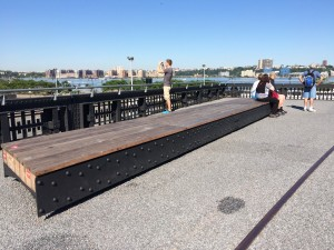 New section with railroad fence and bench;  High Line; 8/2/15