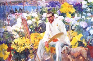 Painting by Joaquin Sorolla of Louis Comfort Tiffany in His Garden