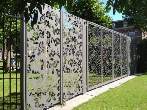 Patterned metal and glass panels