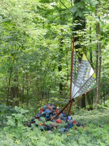 Colorful glass sculpture set in woodland