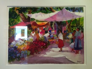 Evelyne Boren watercolor of San Miguel flower market